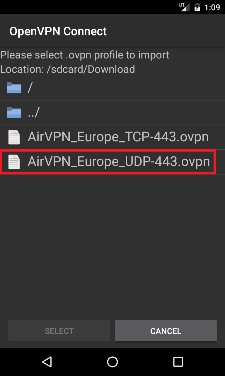 Using AirVPN with OpenVPN Connect for Android - How-To - AirVPN