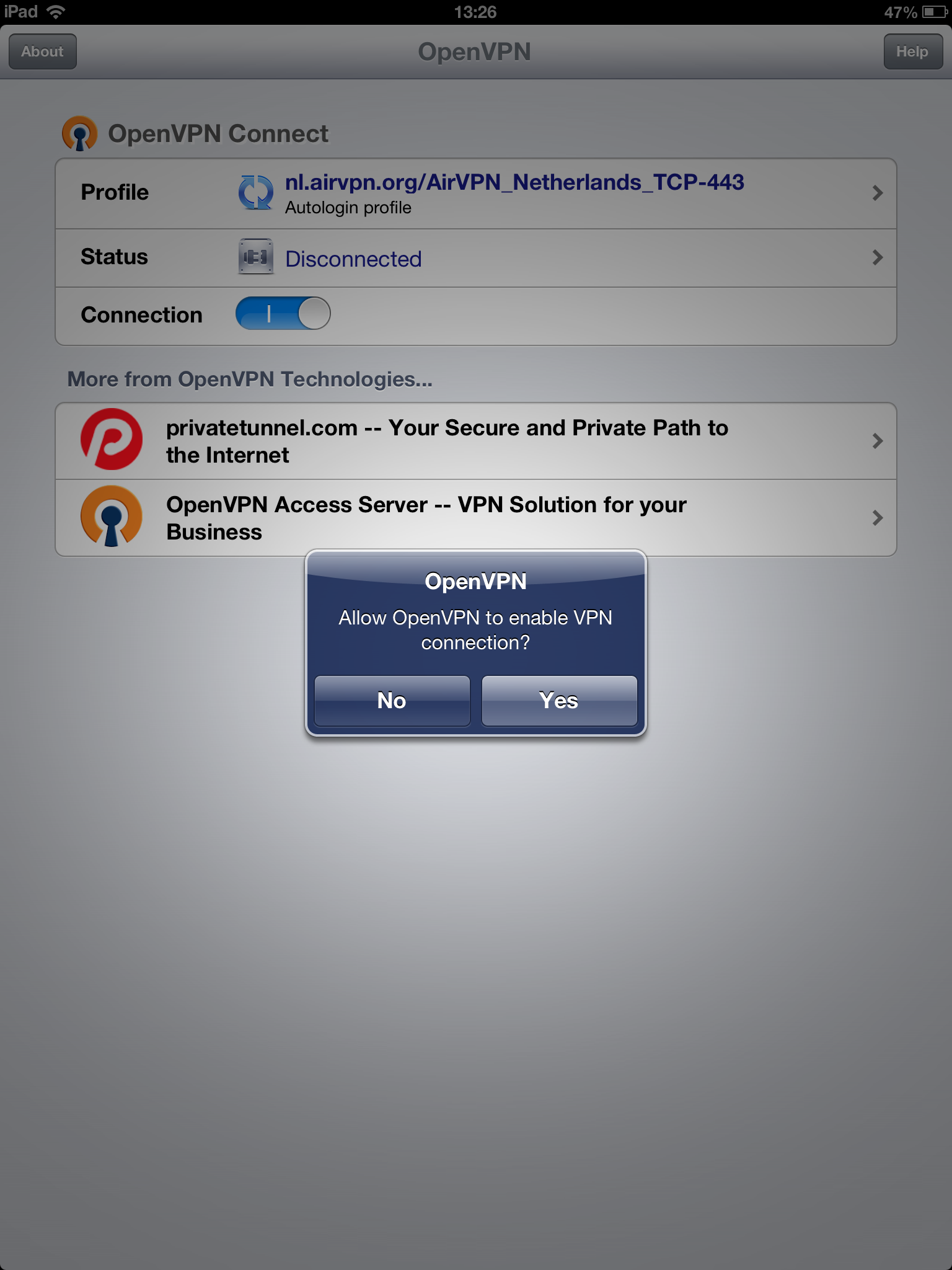 iOS (iPhone/iPad/iPod) - AirVPN