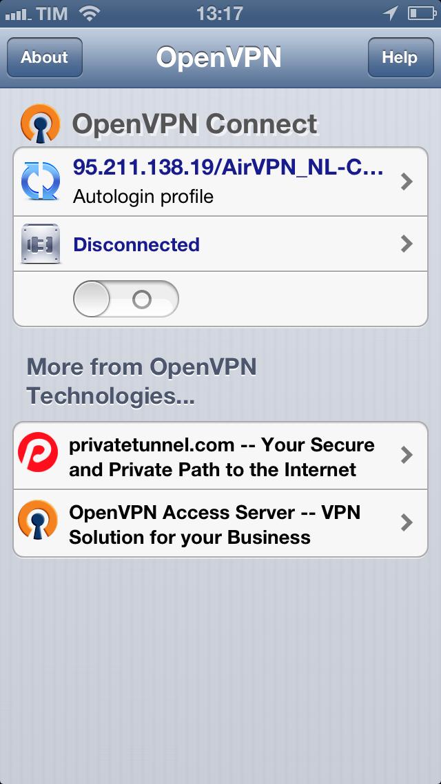 iOS (iPhone/iPad/iPod) - AirVPN